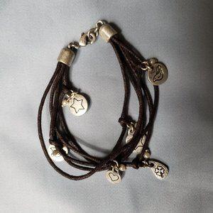Endearing leather wrap charm bracelet